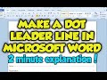 How To Create A Dot Leader Line In Microsoft Word 2010 - Dot Leader Line Word 2010 / 2007 Tutorial
