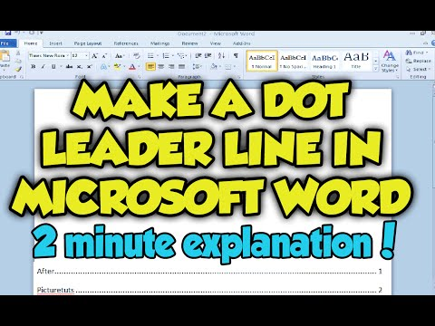 How To Create Dot Leader Line In Microsoft Word