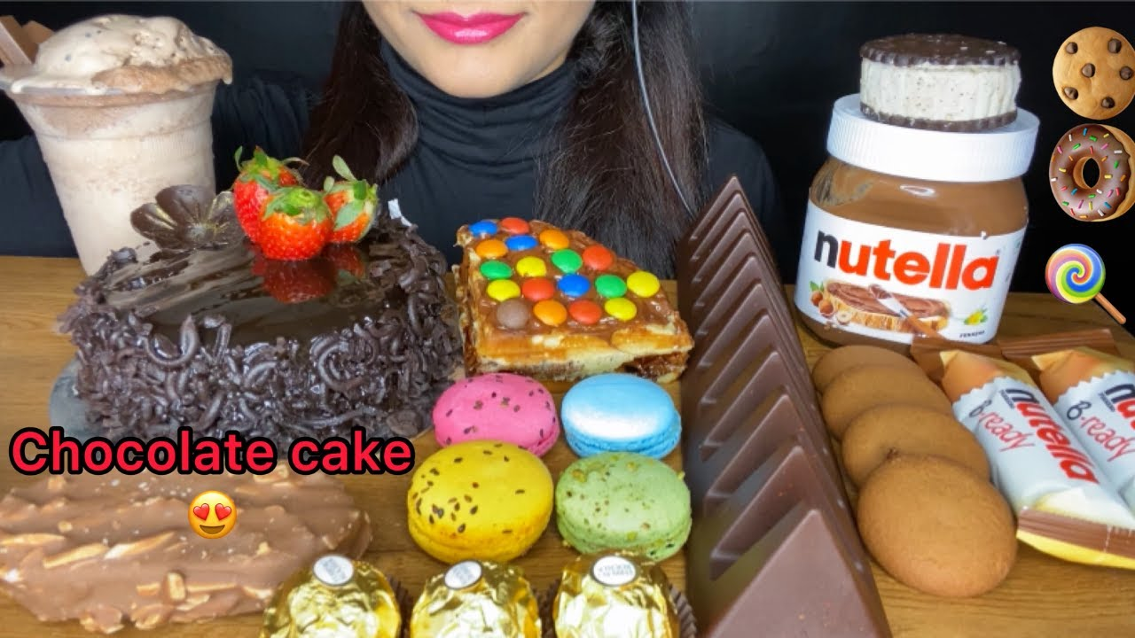 ASMR:CHOCOLATE DESERT FEAST l CHOCOLATE CAKE,MACARON,KITKAT SHAKE,NUTELLA,ICECREAM l FOOD VIDEOS