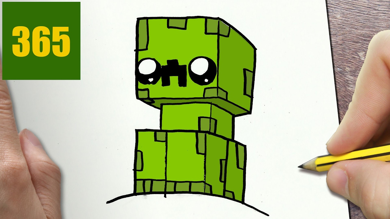 How to draw a minecraft creeper cute easy step by step for Disegni da colorare minecraft