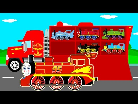 Thumbnail: Learn Color & Numbers Thomas Train Transportation w Mack Truck Cars Cartoon for Kids Learning Video