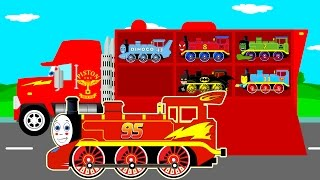 Repeat youtube video Learn Color & Numbers Thomas Train Transportation w Mack Truck Cars Cartoon for Kids Learning Video
