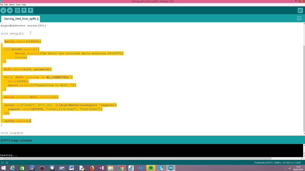 ESP32 Arduino: Serve html from SPIFFS file system