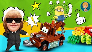 Gertit Builds Minions Despicable Me Mega Bloks Copy and Carrying Out with Mater the Old Tow Truck thumbnail
