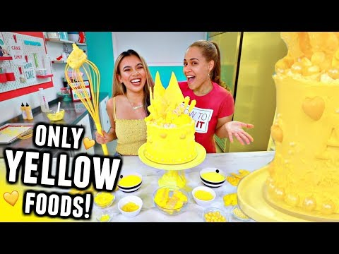 I only used YELLOW foods to BAKE A CAKE Challenge *with professional how to cake it*