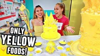 I only used YELLOW foods to BAKE A CAKE Challenge! *with professional how to cake it*