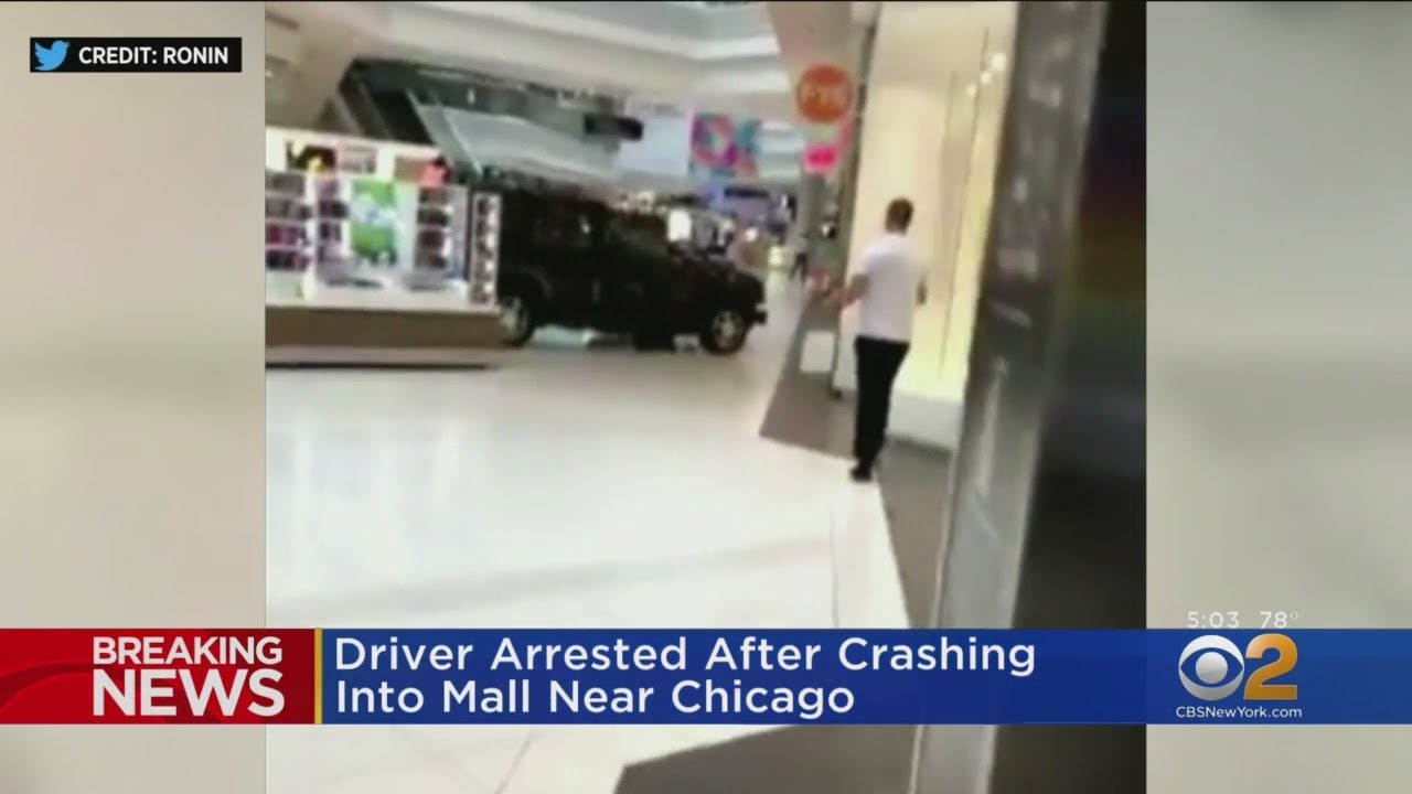 SUV Drives Through Chicago Mall
