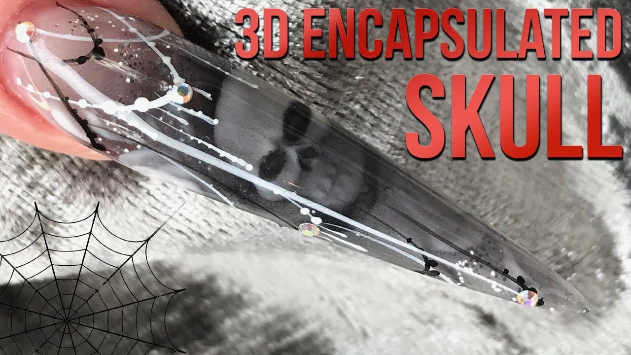 Encapsulated Acrylic 3D Skull - Halloween Nail Design - Transparent ...