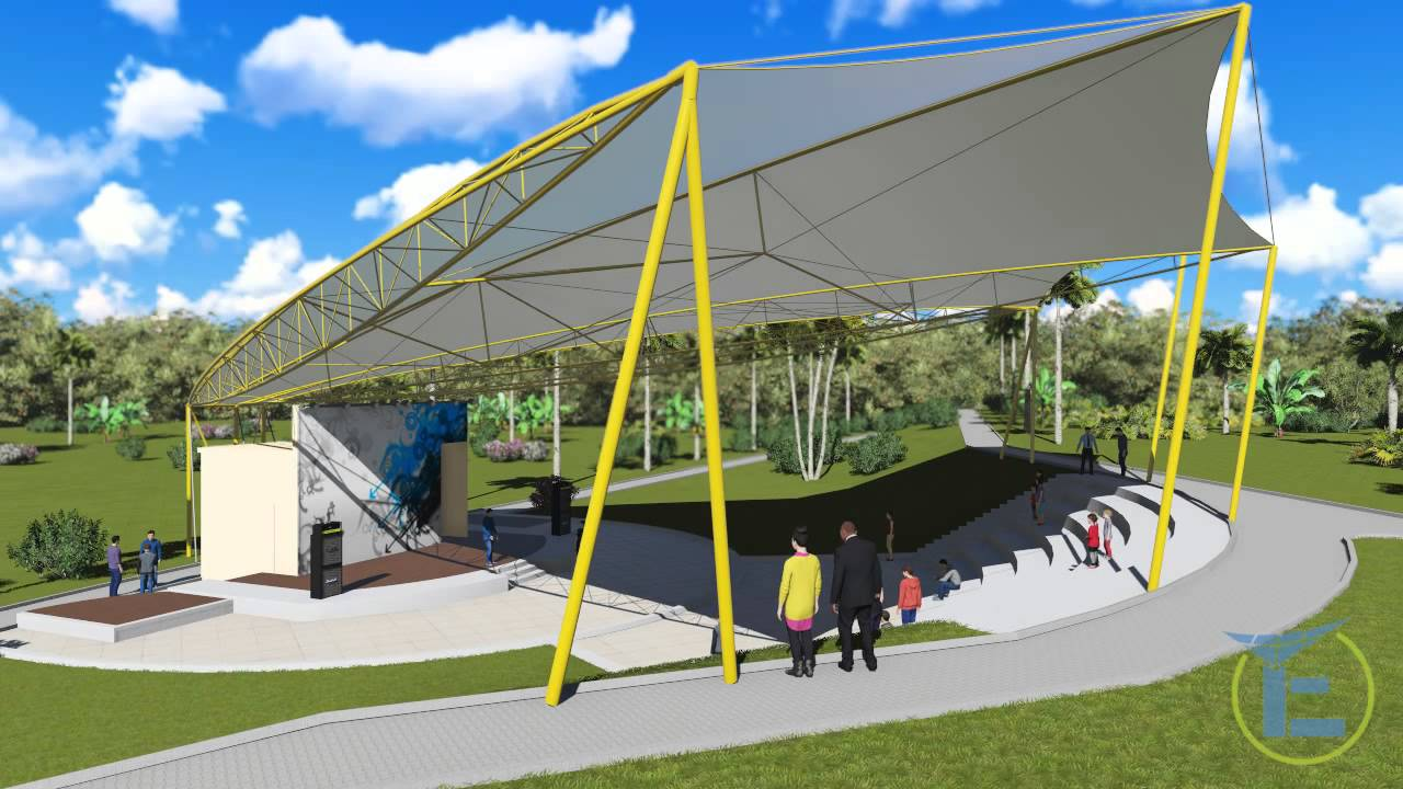 Tensile Fabric Structure Render Mov For Open Amphitheater