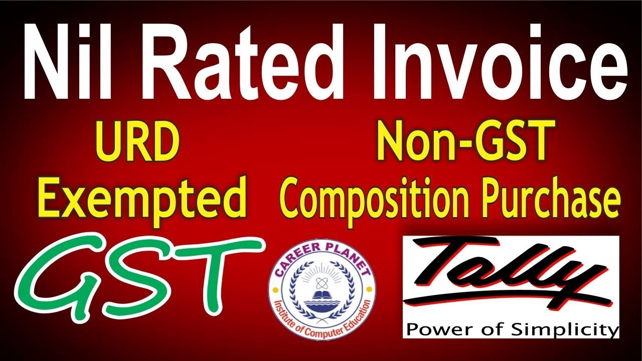 Non GST  Nil Rated  Exempted  URD  Composition Purchase Invoice in     Non GST  Nil Rated  Exempted  URD  Composition Purchase Invoice in Tally  ERP 9 Part 29 GST Tally