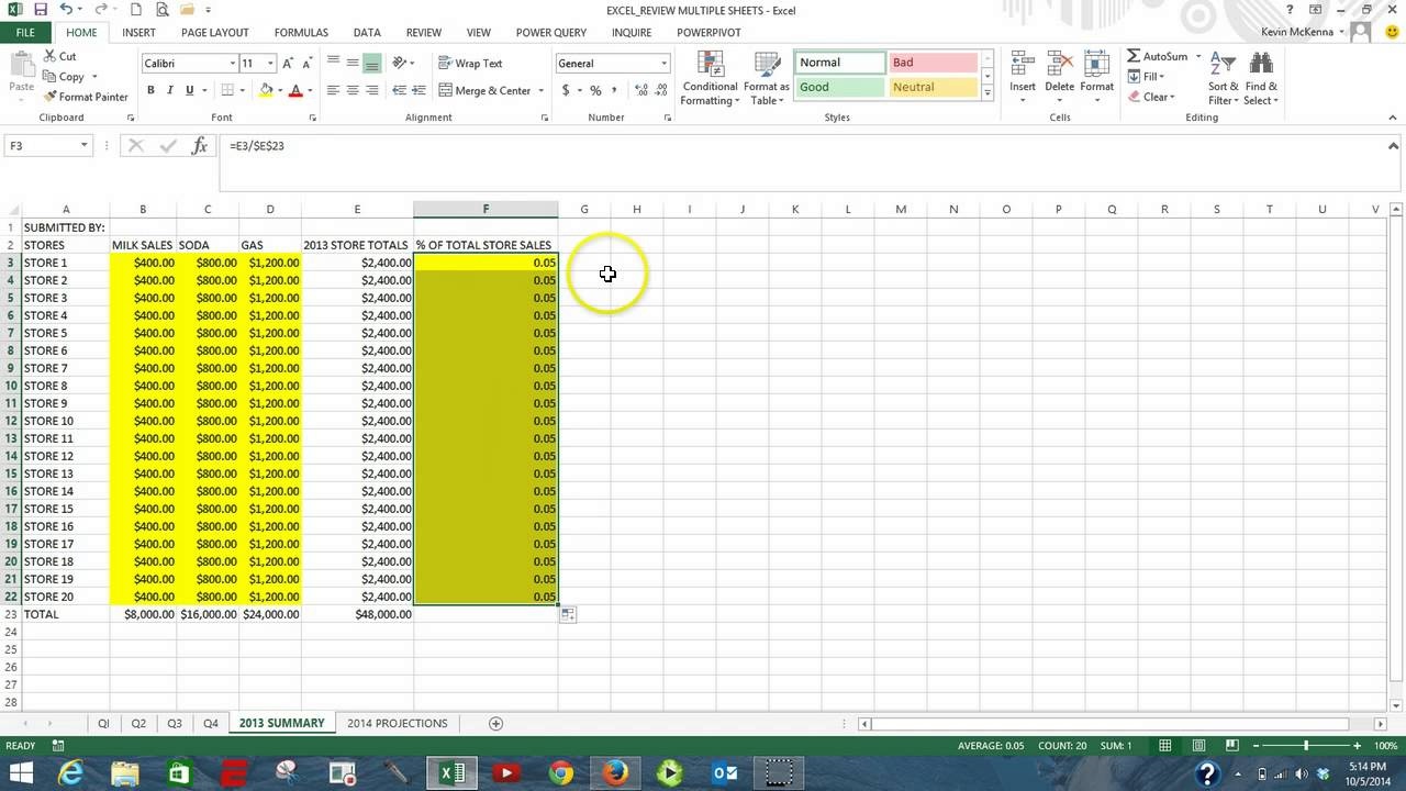 Excel 2013 multiple sheets practice youtube excel 2013 multiple sheets practice robcynllc Choice Image
