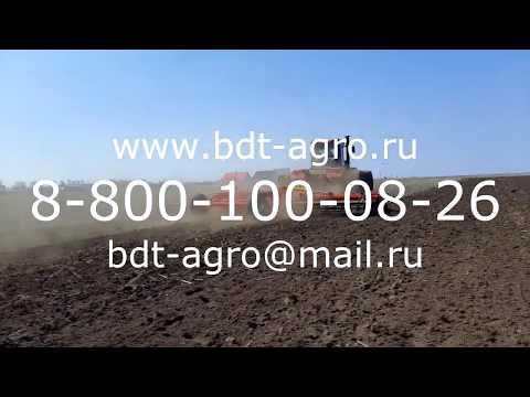 Работа бороны дисковой КОРТЕС 9 производства БДТ-АГРО на стойках с эластомерами с Кировцем К742