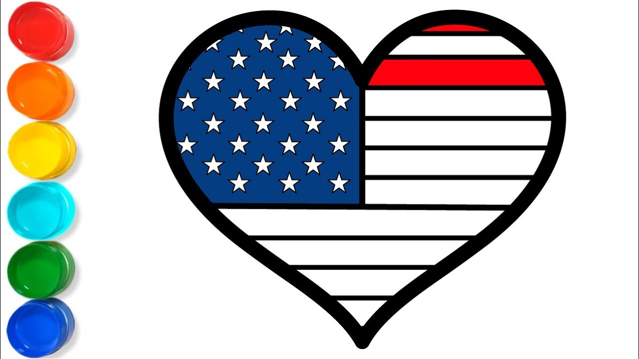 heart shaped american flag coloring page – Vingel | 720x1280