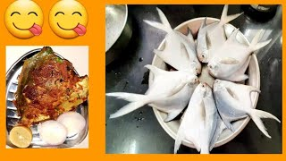 पापलेट फ्राय॥Pomfret fish fry and curry ॥seafood॥