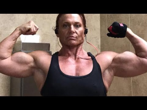 50 years young muscle woman with incredible biceps Pamela Hannam