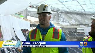 CBS SEAL TEAM Cast visits SoFi Stadium hosted by Chargers Linebacker Drue Tranquill