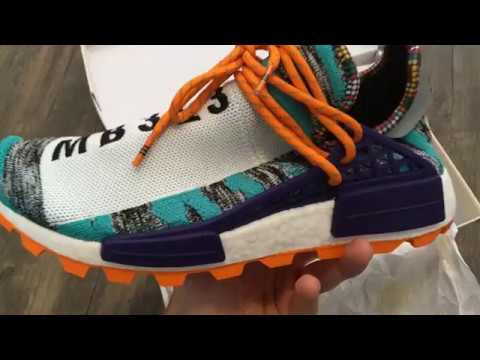 PHARRELL X ADIDAS SOLAR HU NMD HI-RES AQUA UNBOXING AND REVIEW