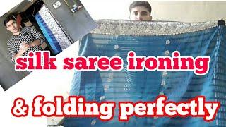 how to shrink silk saree iron & fold perfectly. (hindi)