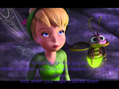 Demi Lovato Gift of a Friend with lyrics and pictures of Tinker Bell and the Lost Treasure