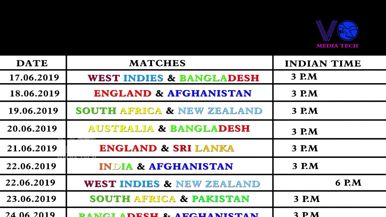 ICC Cricket World Cup 2019 Schedule Time Table Indian Time