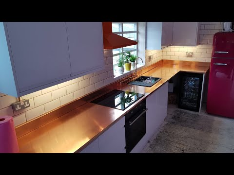Bespoke Copper Kitchen Top polished and protected with Ceramic Pro Air