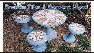 BROKEN TILES AND CEMENT IDEAS - MAKING CHAIRS | PAGGAWA NG SILYA NA SEMENTO