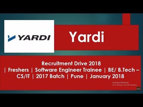 Yardi Software Recruitment Drive | Engineer Trainee | 2017 Batch | Pune | January 2018 hst jobs