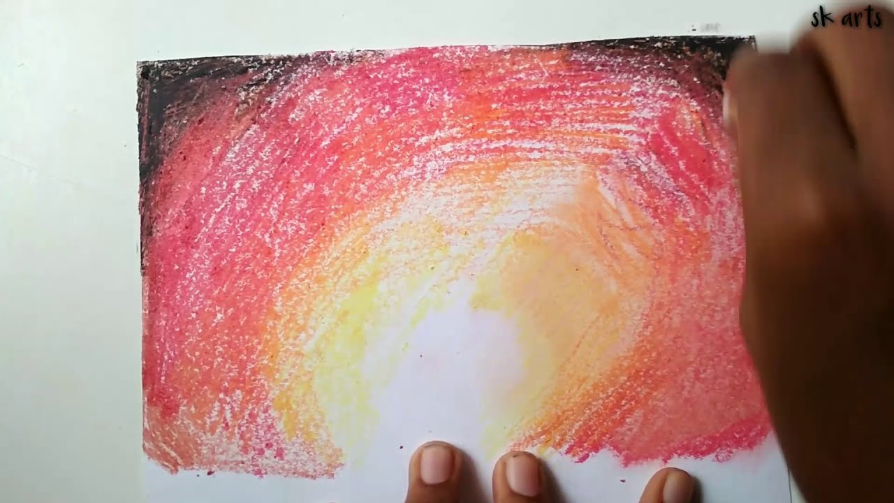 Easy love couple scenery drawing with oil pastel for ...