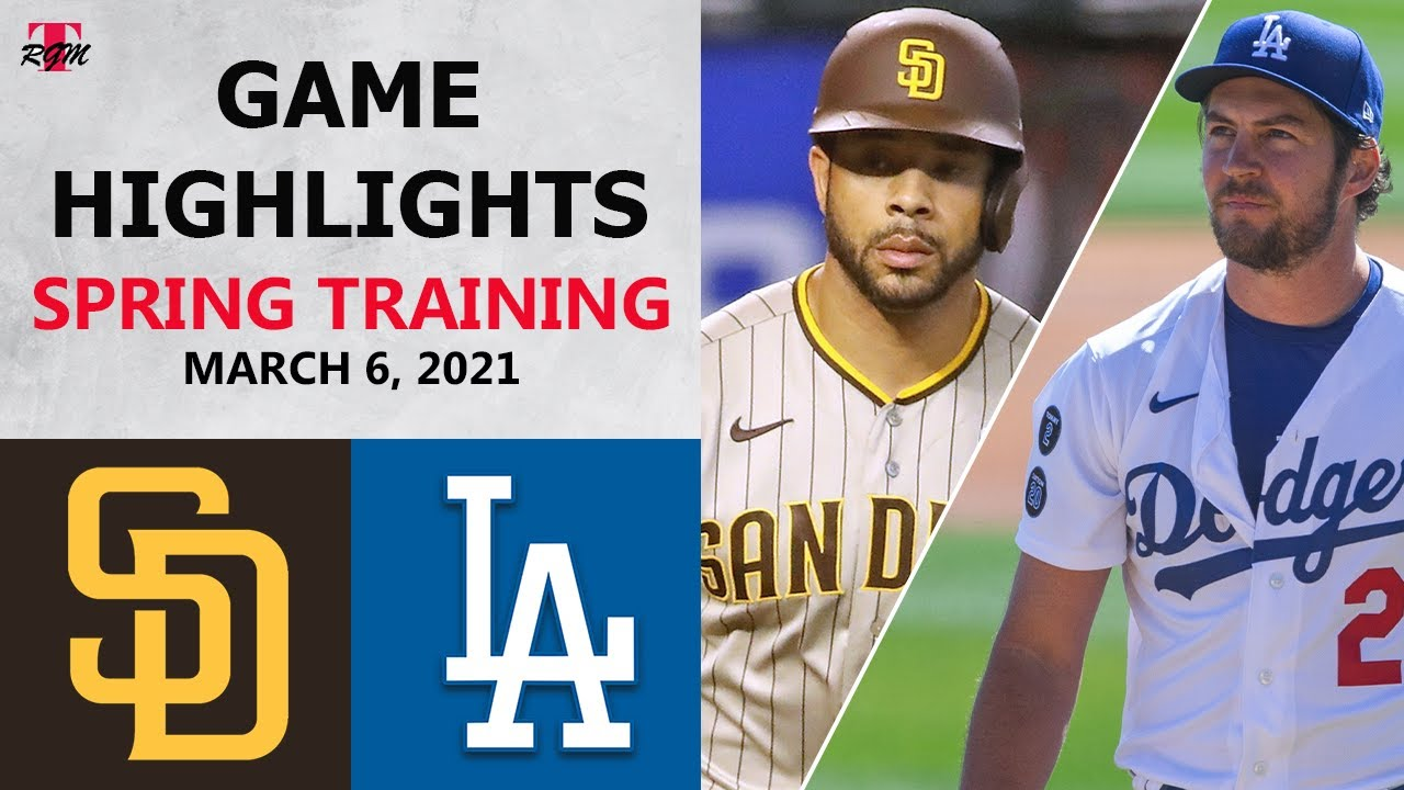 San Diego Padres vs. Los Angeles Dodgers Highlights   March 6, 2021 (Spring Training)