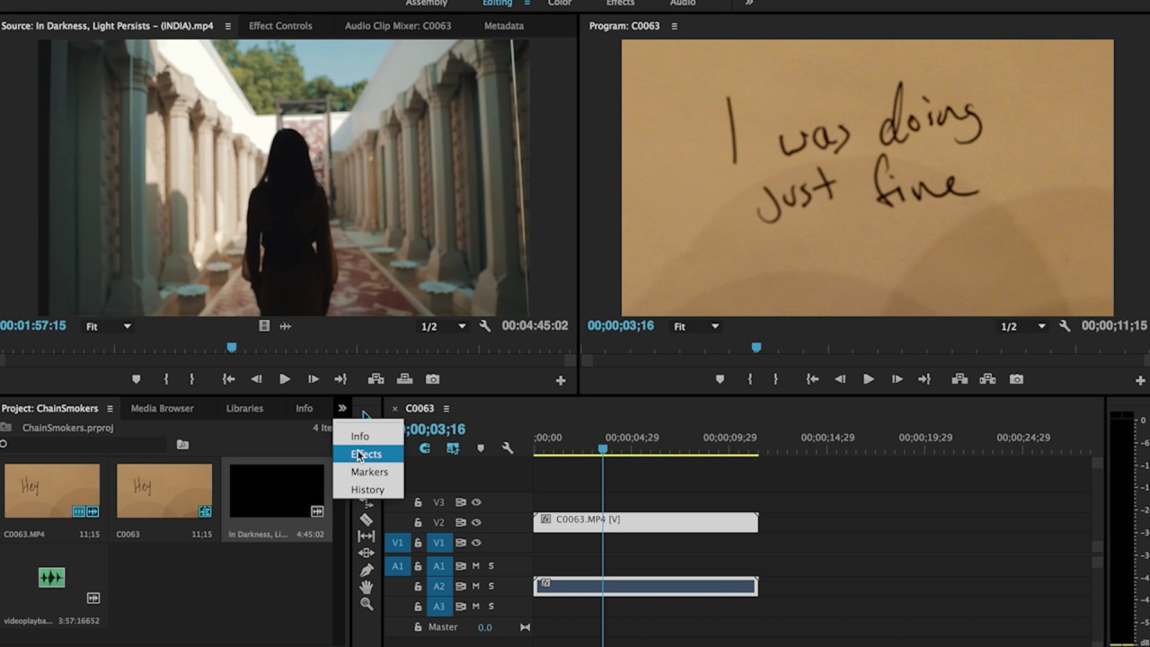 Chainsmokers 'Closer' lyrics tutorial in Adobe Premiere Pro by James Vadala