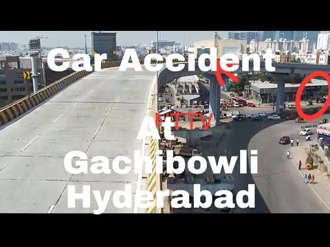 Car Accident At Gachibowli bridge At Hyderabad Must Watch