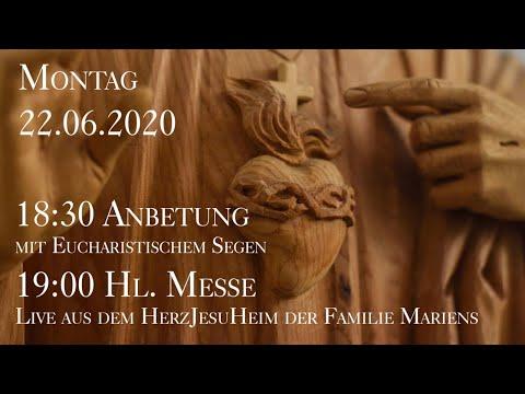 Mo., 22.06.2020, 19:00 Heilige Messe - live aus dem HerzJesuHeim der Familie Mariens from YouTube · Duration:  1 hour 33 minutes 34 seconds
