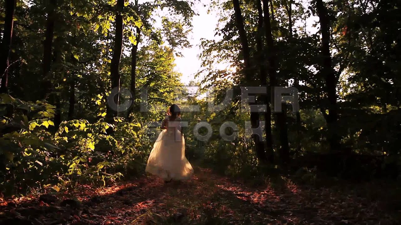 Vintage Fashion Wedding Dress Woman Running in Summer Forest - Stock ...