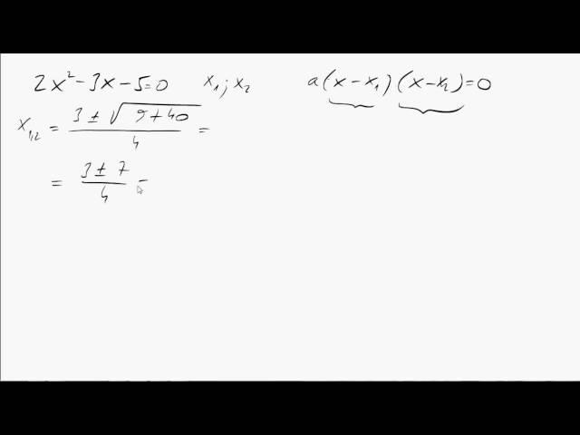 10. o. A másodfokú egyenlet 05 (Diszkrimináns, Gyöktényezős alak, egyenletrendszer)