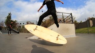 KICKFLIPPING A SURFBOARD AT A SKATEPARK?! | SKATE EVERYTHING EP 10