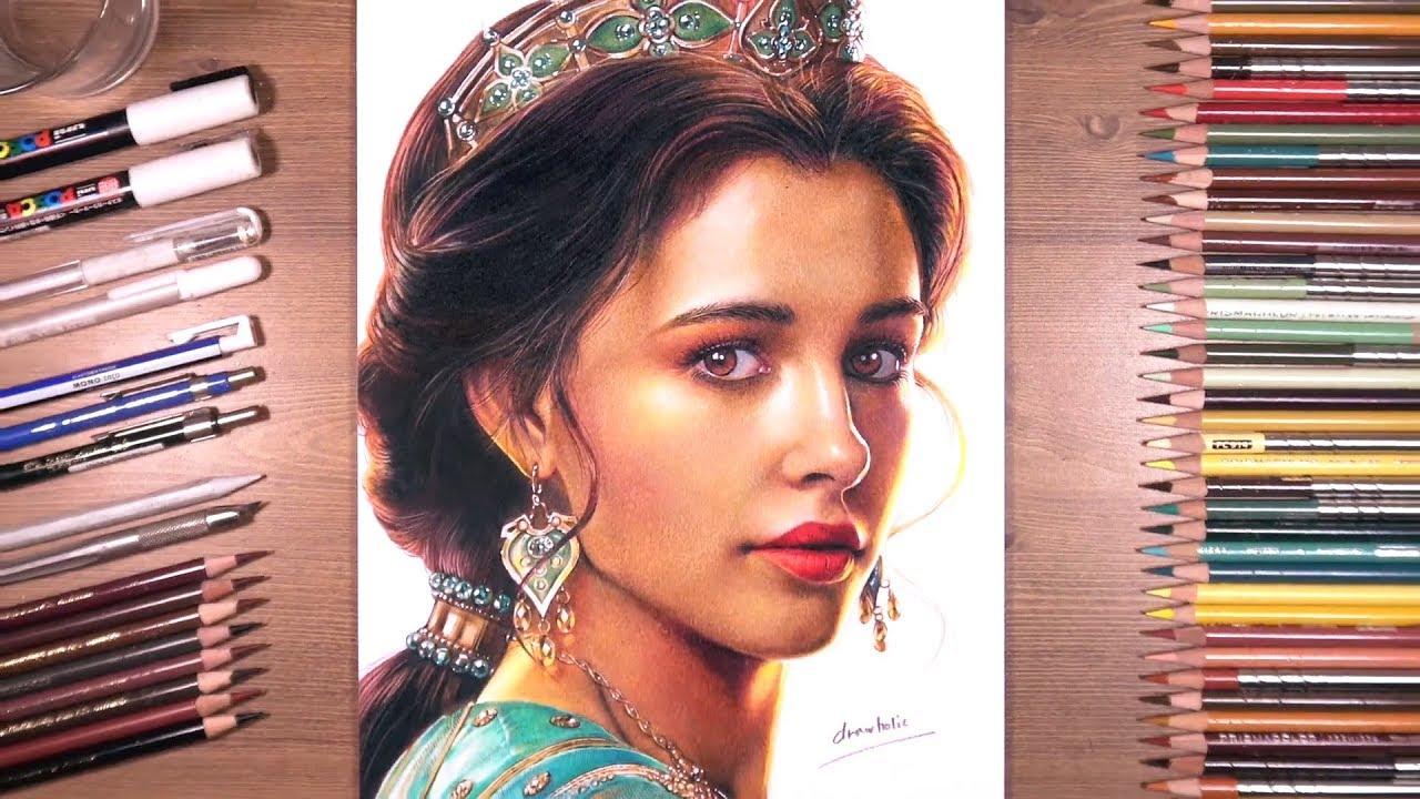 Drawing Aladdin Princess Jasmine Naomi Scott Youtube