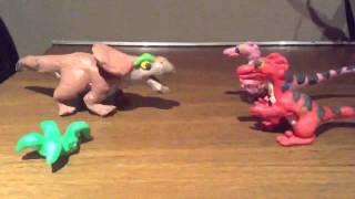 Velociraptors vs protoceratops stop-motion animation
