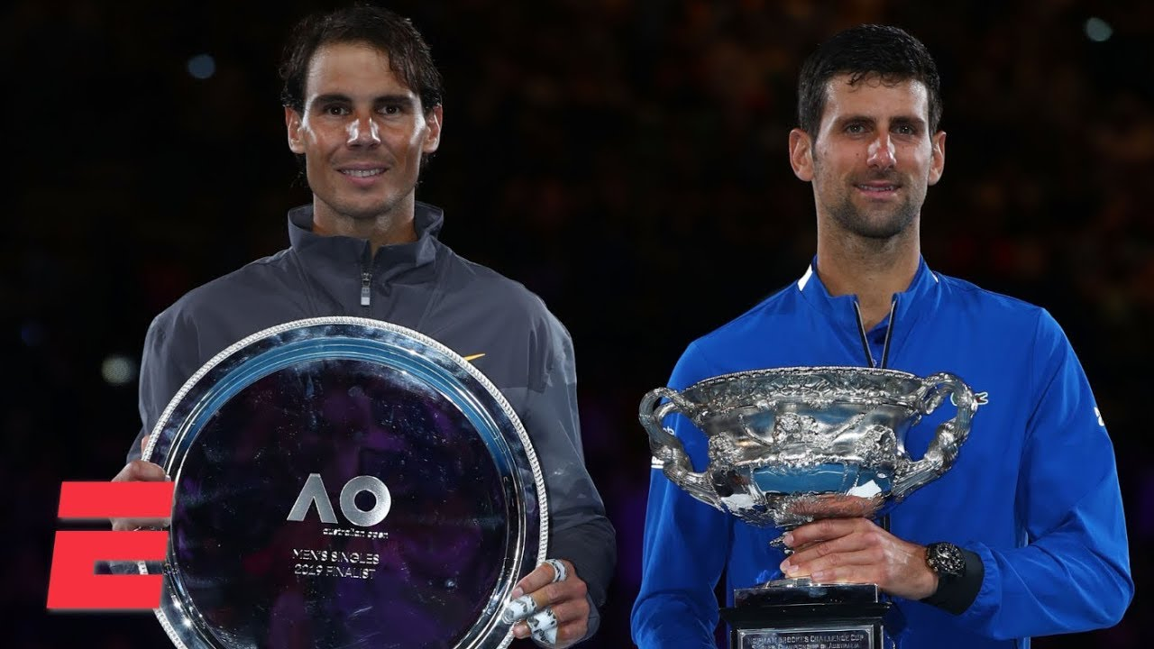 2019 Australian Open trophy ceremony with Novak Djokovic and Rafael Nadal | 2019 Australian Open
