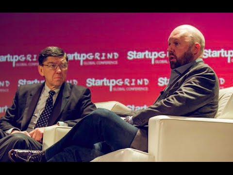 Clay Christensen and Marc Andreessen at Startup Grind Global 2016