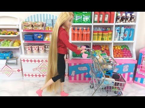 Rapunzel Grocery Store! Elsa Barbie Supermarket Barbie Bicycle Boneca Supermercado باربي، تسوق،مارت