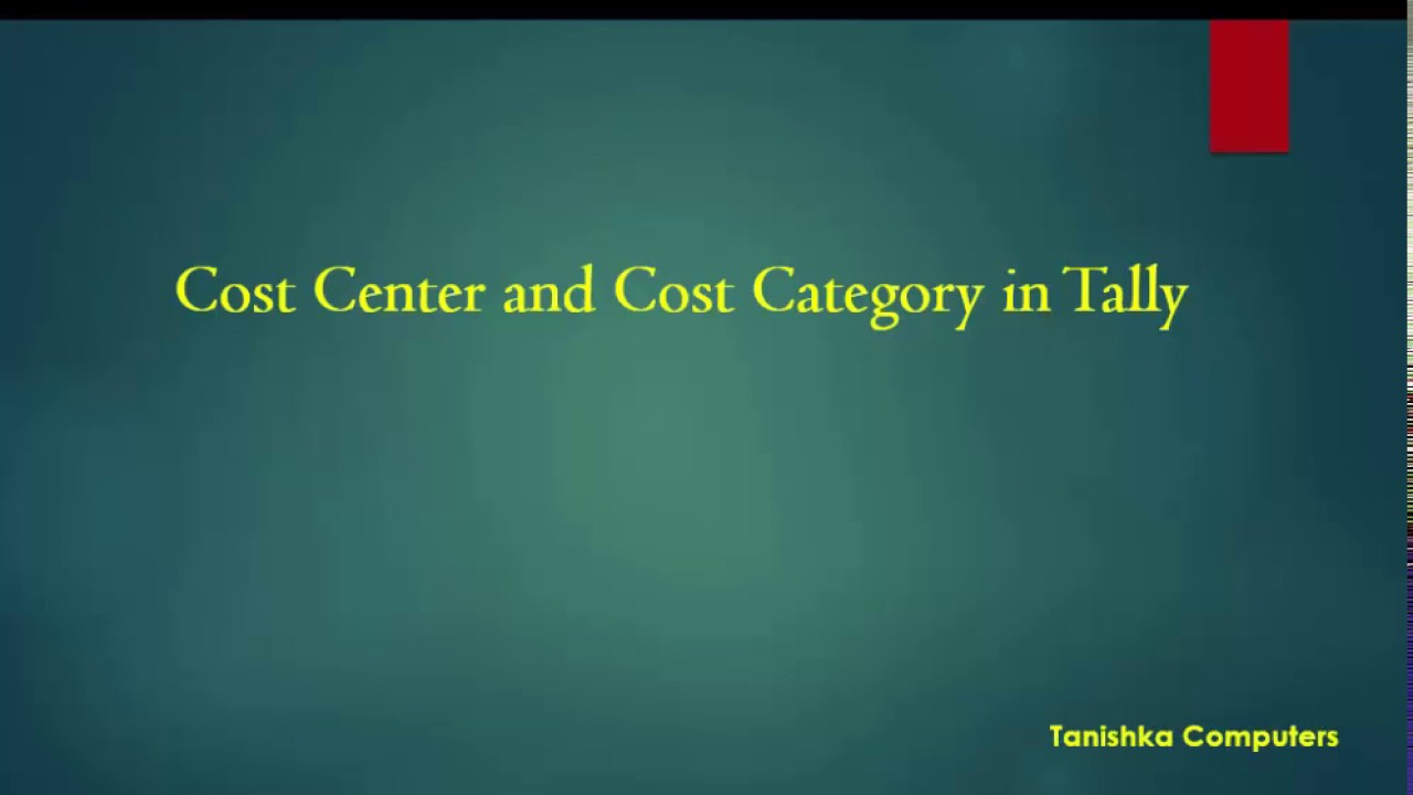 cost center and cost category in tally   YouTube