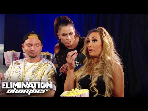 Ellsworth echoes Carmella's thoughts as they watch from their Skybox: Elimination Chamber 2017