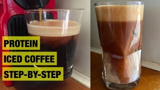 How to make protein iced coffee (30g protein) | protein shake step-by-step