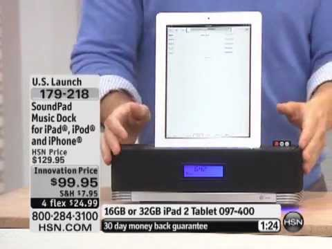 SoundPad Music System with iPad iPod iPhone Compatible Dock
