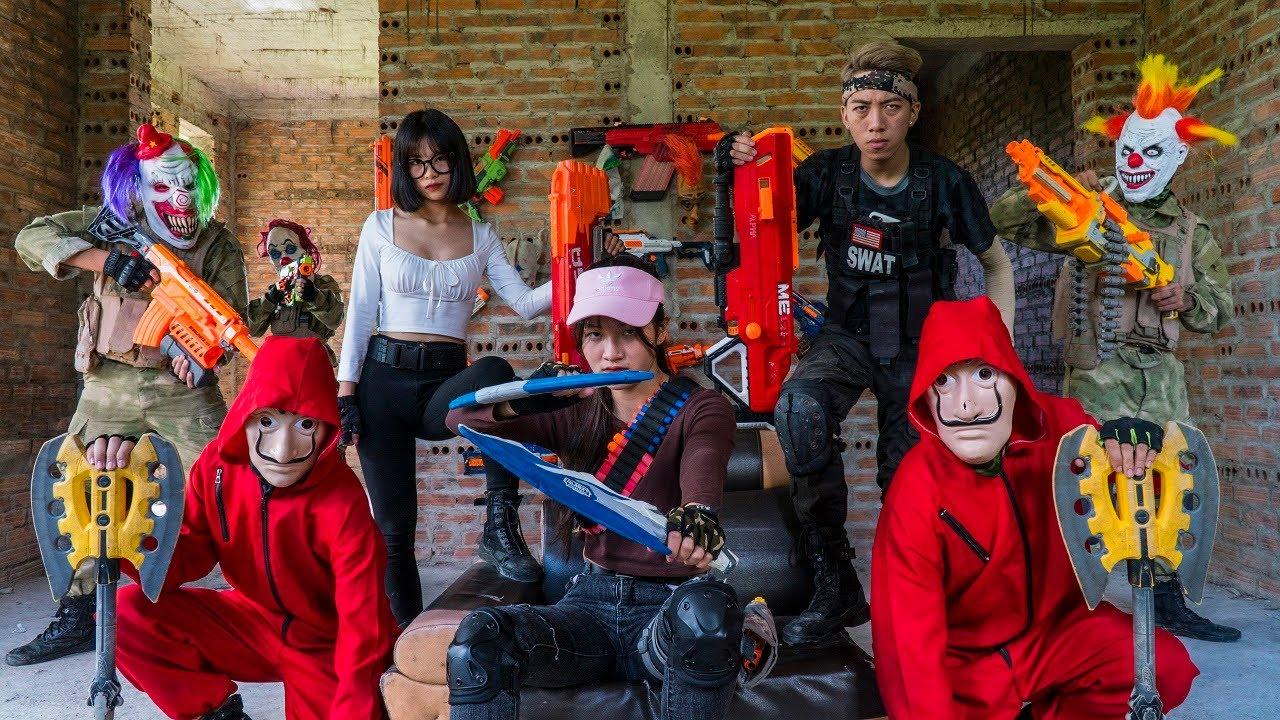 MASK Nerf War : GIRL Warrior Squadron ALPHA Nerf Guns Fight King's Man Mask City Battle