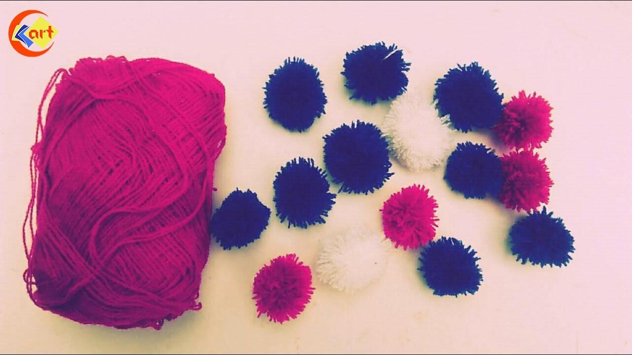 9626bbfc1e4 DIY   Mini Yarn Pom Poms Easy Tutorial - YouTube