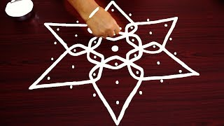 Star flowers sikku kolam designs with 7 dots - simple rangoli designs - creative melika muggulu