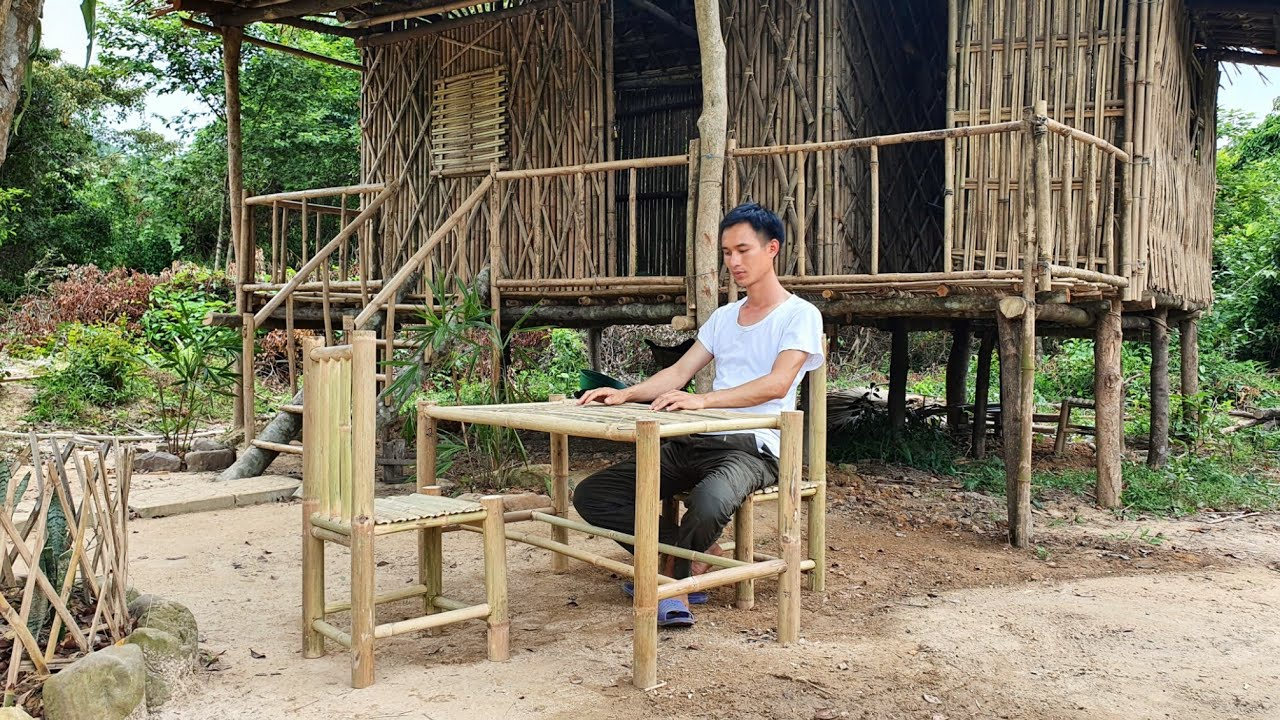 Episode 13 - Set of bamboo tables and chairs to sit and eat, drink water