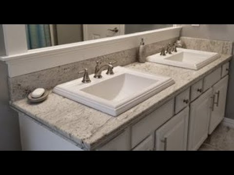 DIY Bathroom Remodel On A Budget - Metallic Walls - Granite - Painted White Washed Cabinets