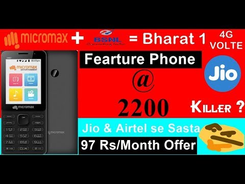 Micromax Bharat-1 @ Rs. 2,200 Jio Phone Rival With Unlimited Data & Calls